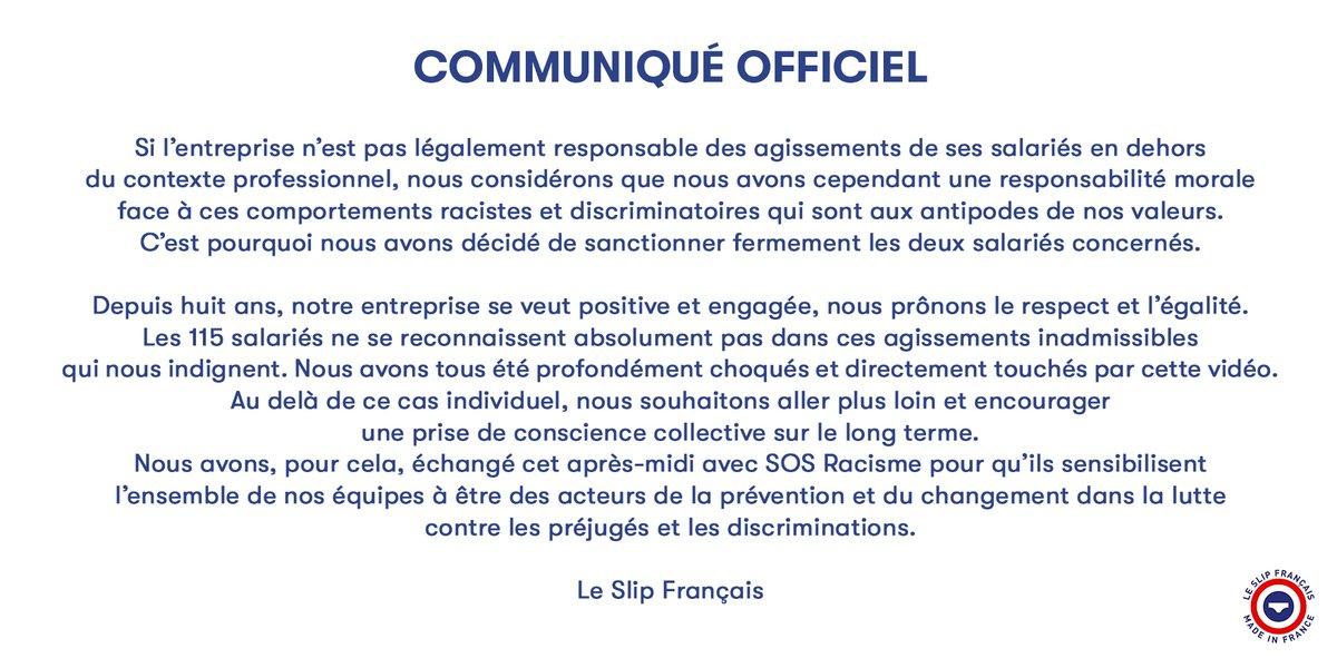 communiqué officiel le slip français